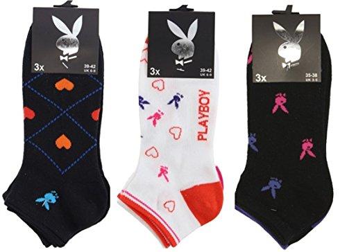Playboy 12 Paar bunte Damen Sneakersocken in 35-38/39-42, in 8 wunderschönen, verschiedenen Farben (39-42)