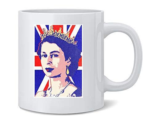 Poster Foundry Queen Elizabeth II Union Jack Pop Art Ceramic Coffee Mug Tea Cup Fun Novelty Gift 12 oz