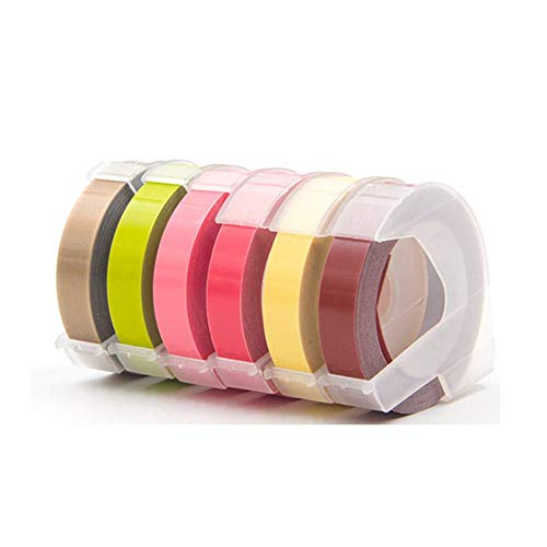 Replace Dymo Embossing Label Maker Tape 1/2 Inch, 3D Plastic Embossing Tapes for DYMO Organizer Xpress Labeller and More, Mult Color Self-Adhesive,6-Pack