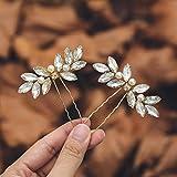 Mayelia Kristall Braut Hochzeit Haarnadeln Gold Kopfschmuck Perle Haarspangen Braut Haarschmuck für Frauen und Mädchen (2 Stück)