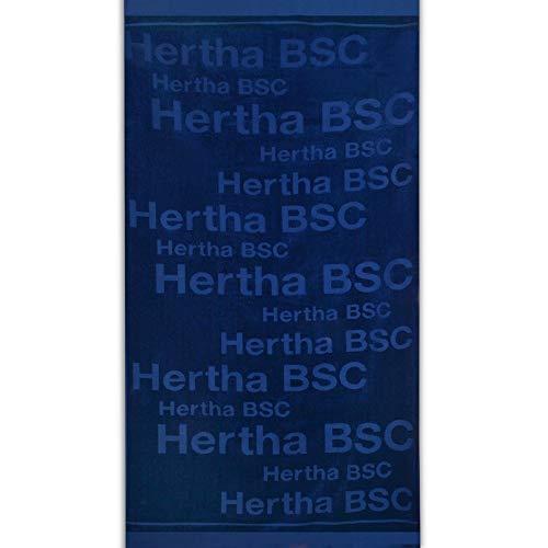 Hertha BSC Berlin Strandtuch - Schriftzüge - Navy 180 x 90 cm Duschtuch, Badetuch, Saunatuch - Plus Lesezeichen I Love Berlin