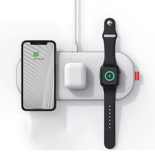 Cargador Inalámbrico De 30w, 3 En 1 Pad De Carga Rápida Para Iphone 12/12 Mini / 12 Pro / 11 Pro Max / Xs / Xr / X / 8, Estación De Carga Inalámbrica Para Apple Watch Airpods Cargador Inalámbrico Pad