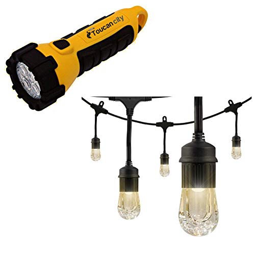 Toucan City LED Flashlight and Enbrighten 24-Bulb 48 ft. Cafe Integrated LED String Lights, Black 31664