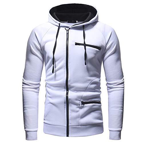 Homme Veste, Manadlian Chemisier Jacket de Sport à Capuche Sweats à Capuche Zipper Slim Hoodies pour Hommes Sweat-Shirts (Large, Blanc-1)