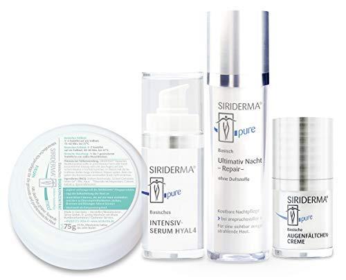 SIRIDERMA® Pflege-Set Anti-Age | Nachtpflege mit Hyaluron, Augenfältchencreme, Intensiv-Serum | 3 Gratis-Probiergrößen (ohne Duft)