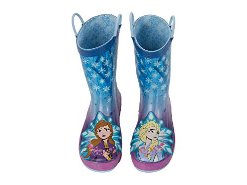 Western Chief girls Frozen 2 Licensed Waterproof With Easy Pull on Handles Rain Boot, Turquoise, 12 Little Kid US