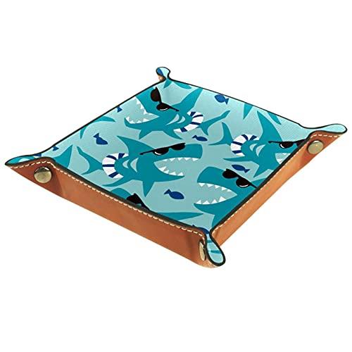 Bandeja de dados, plegable de cuero para dados, para juegos de dados, D&D y otros juegos de mesa, Ocean Blue Shark