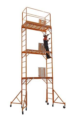 CBM Scaffold Rolling Tower Standing at 17' High with Hatch Deck Guard Rail and U Lock Brace CBM1290