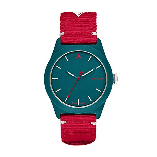 One Eleven SWII Solar Powered Bio-Plastic and rPet Recycled Fabric Casual Watch, Color: Teal, Red (Model: CBOE2011)