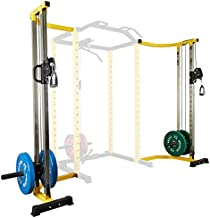 HulkFit Cable Crossover Attachment Multi-Function Adjustable Power Cage, 1000-Pound Capacity, Yellow