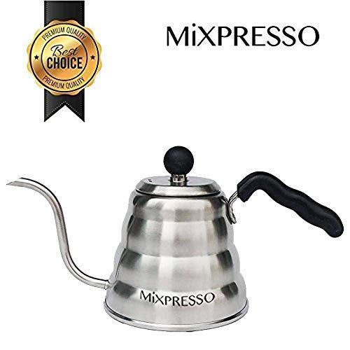 Gooseneck Pour Over Coffee & Tea Kettle By Mixpresso Coffee   Ideal For Pour-Over Coffee Makers   Barista Pour Control Design   Stainless Steel Design & Dishwasher Safe   Thermometer