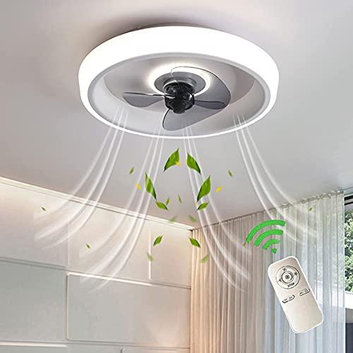 Ventilador De Dormitorio Con Luces LED Ventilador Techo Silencioso Con Iluminación Control Remoto Dimable Lámpara Luz De Techo Con Ventilador Ultra Delgado Moderno Fan Ajustable Velocidad, Blanco
