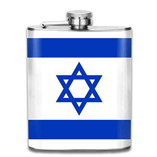 Edelstahlflaschen 7 Unze israelische Flagge Whisky Glaskolben Dichtheitsprofil Wein Männer Frauen