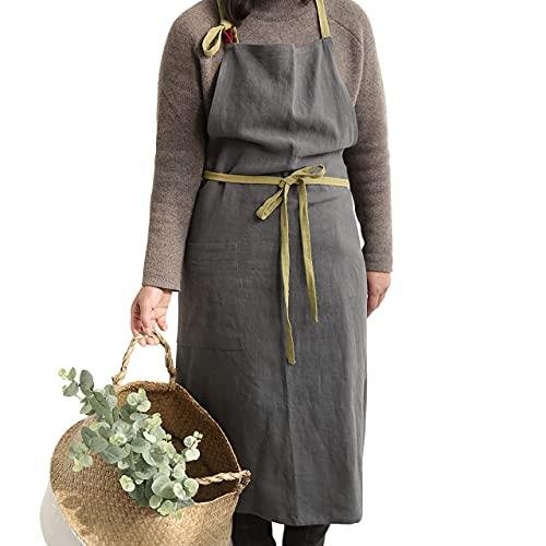 Hanee Delantal de lino y algodón (9 colores), Gris oscuro, 39'(W) X 39'(H)