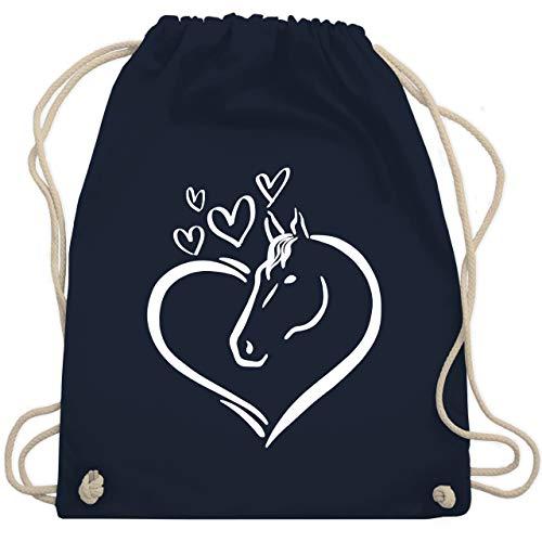 Shirtracer Tiermotive Kind - Pferdeportrait im Herz - Unisize - Navy Blau - turnbeutel kind pferd - WM110 - Turnbeutel und Stoffbeutel aus Baumwolle