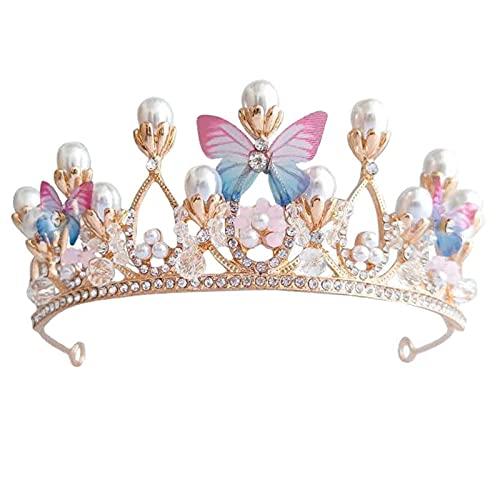 Corona de Mariposas,Corona de Perlas de Mariposa,Corona Festival de Flores Novia Boda...