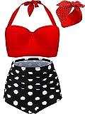 Bikini de Talle Alto con Aros de Polka Retro Vintage para Mujer Trajes de Baño de 2 Piezas Trajes de Baño con Conjunto de Topbikini con Aros y Diadema Roja Retro (XXXXL)