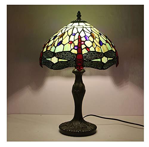 GXM-LZ Tiffany-Stil Tischlampen, handgefertigte Libelle Buntglaslampenschirm für die Schlafzimmer Nachttischlampe,...