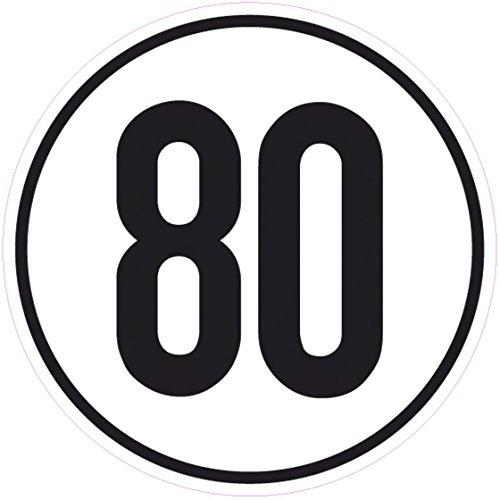 Geschwindigkeitsschild 80 km/h, 20cm nach §58 StVZO, Folienaufkleber zur Anbringung Karosserie aussen, Aufkleber, Geschwindigkeit, rund, für Traktor, LKW, Rollstuhl,