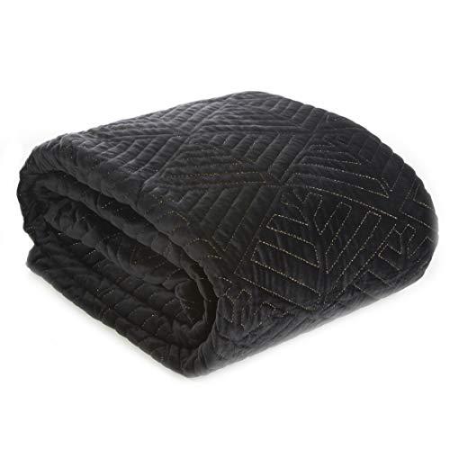 Eurofirany Deniz Bedsprei, fluweel, sprei, met metalen naad, doorgestikte deken, sprei, gewatteerd, elegant, edele glamour, slaapkamer, lounge, zwart + goud, 220x240cm