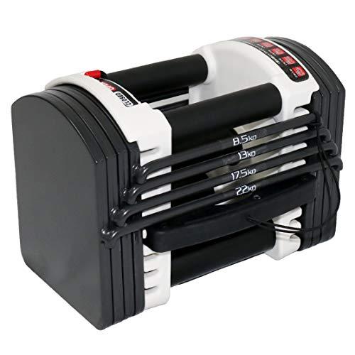 可変式 クイックダンベル/ブロックダンベル 22kg 40.5kg 最小3kgから最大40.5kg アジャスタブルダンベル 簡単重量変更 27段階調節 コンパクト (22KGx1個-真・A2)
