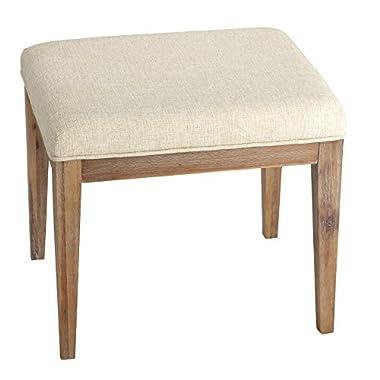 Cortesi Home CH-OT905462 Onel Vanity Bench Neutral Linen Fabric Ottoman, 20 , Beige