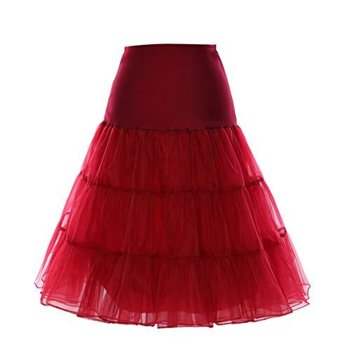 Boolavard 1950 Petticoat Reifrock Unterrock Petticoat Underskirt Crinoline für Rockabilly Kleid (Burgund, L-XL (EU 42-50))