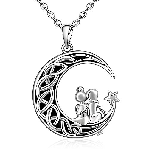 Sister Necklace Gifts From Sister Necklaces for Women Soul Celtic Knot Crescent Moon Star Pendant Forever Necklace Jewelry Best friend