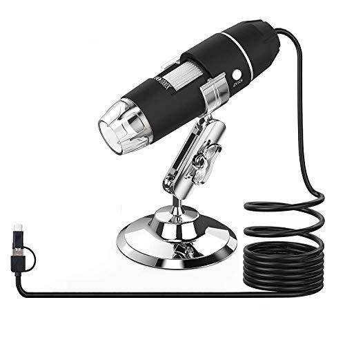 RUIZHI USB Mikroskop, Splaks 1000x Hochleistungs-USB-Digitalmikroskop 3-in-1-PCB-Mikroskopkamera mit 8 LED-Lichtern und Mikroskopständer für Personen Kompatibel mit Windows Android und Mac
