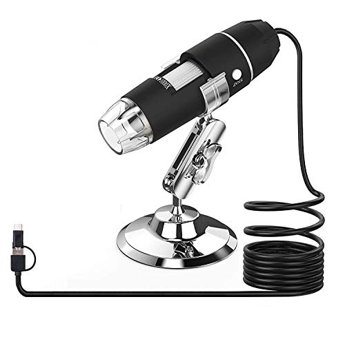 RUIZHI Microscopio USB, Splaks Microscopio digitale USB ad alta potenza 1000x Telecamera per microscopio 3 in 1 PCB con 8 luci a LED e supporto per microscopio per persona