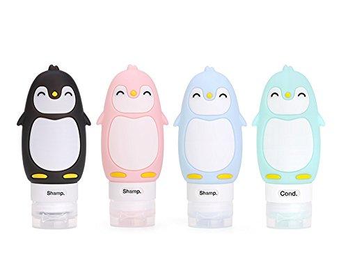 JasCherry Pingouin Flacon en Silicone Bouteilles de Voyage - BPA sans Approuvé par la ligne aérienne TSA - Pour le shampooing, revitalisant, lotion etc - Set Kit de 4 Pièces (Capacité 90 ml)