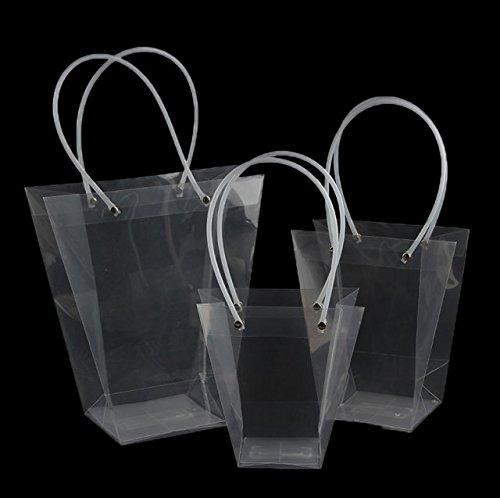 20 Pezzi Wedding Bag Forma T Impermeabile Trasparenti PVC Con Manico Sacchetto Regalo di Nozze (MEDIA)