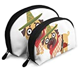 Funny Pug Dog Character Wearing Mexican Sombrero Travel Portable Cosmetic Bags Organizer Set of 2 Women Teens Girls