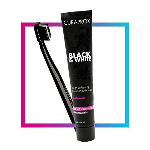 Kit Creme Dental Black is White 90mL +Escova Dental Curaprox
