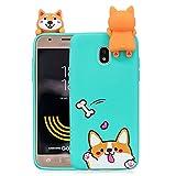 Samsung J3 V 2018 TPU Case, Aeeque 3D Animal Candy Color Ultra Thin Soft Silicone Phone Cases Bag Cover for Samsung Galaxy Amp Prime 3/Express Prime 3/Sol 3/J3 Achieve/J3 Star, Corgi Bone