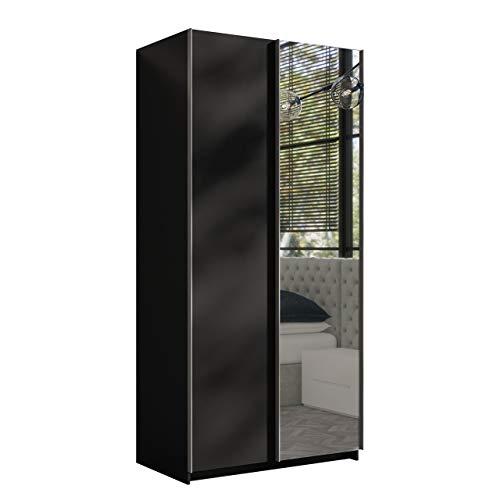 Mirjan24 Kleiderschrank Rick 100, Elegantes Schlafzimmerschrank mit Spiegel, 100 x 216 x 64 cm, Top-Qualität Praktischer Schwebetürenschrank, Schlafzimmer, Schiebetür, viel Stauraum (Schwarz)