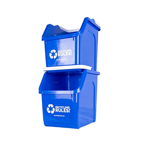 2 Pack of Bins  Blue Stackable Recycling Bin Container with Handle 6 Gallons