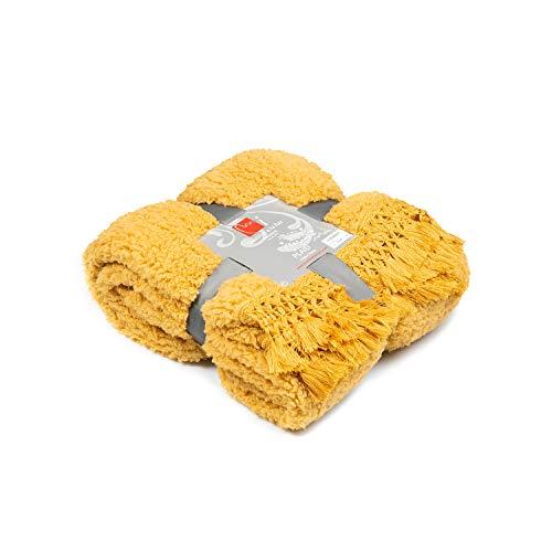 Manta/Plaid Amarilla Terciopelo Tacto Seda o Visón 310GR/M2 con Flecos (Silky Amarillo, 130x170)