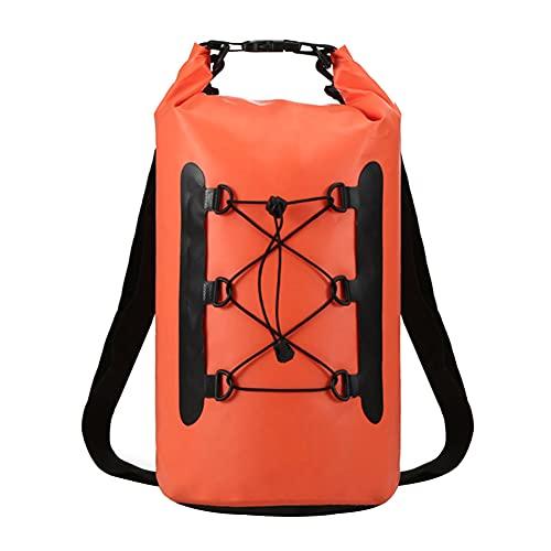 Jorzer Sacchetto Asciutto Impermeabile PVC Dry Compression Sack Zaino Premium Zaino con Cinturino a Doppia Tracolla Regolabile per Pesca Escursionismo Campeggio Canottaggio Nuoto 15l Arancione