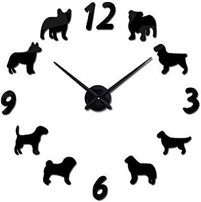 Nazaka | Wall Clock | 1 Set Clock Watch Wall Clocks Horloge 3D Dog Pattern Mirror