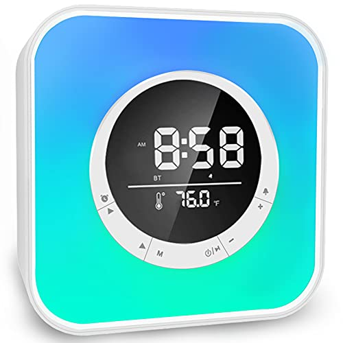 All in One Bluetooth Speaker with Alarm Clock, Colorful LED Night Light, Temperature Display, Hands-Free Calls, MP3 Player Function with USB Charger for Heavy Sleepers Adults