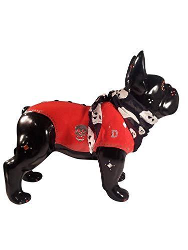 Laure TERRIER Grande Statua Cane Bulldog Francese in Ceramica, Modello Davidson, Decoro Lunghezza 32 Centimetri