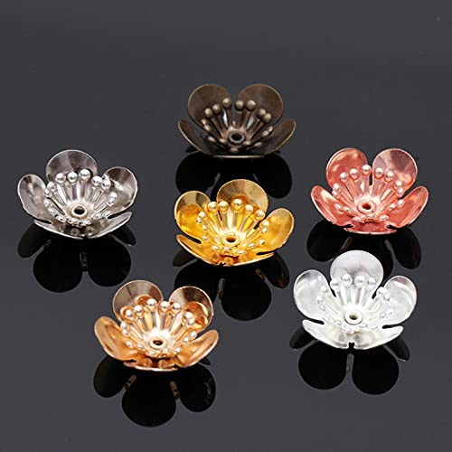 10 piezas de 16 x 6 mm chapado en oro con base de flores de cobre y filigrana Envolturas Conectores Encanto Accesorios...