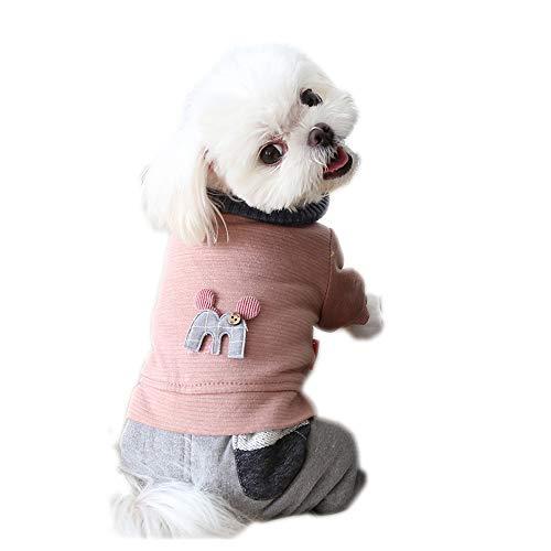 Huisdier kleding, Honden Vierbenige Jumpsuit Jas met Sjaal Knop Jas Winter Kostuum voor Puppy Kleine Honden, L-Back Length: 32cm