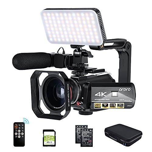 ORDRO Camcorder 4k Video Camera, IR Night Vision 3.1'' IPS Recorder...