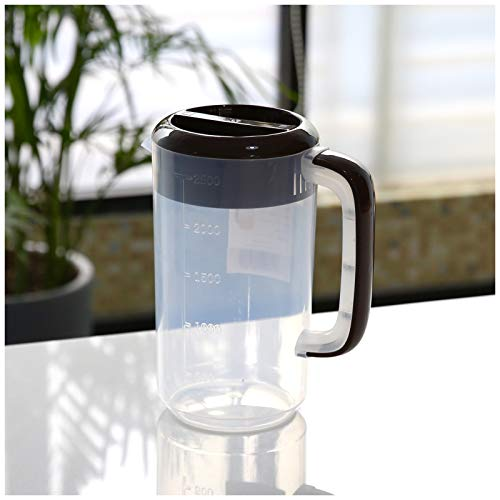 LKDF Messbecher Cup Messbecher Plastikkrug Mit Deckel, Kaltkessel Flüssigkeit Messbecher Wasserkaraffe Wasserkrug, Für Juice Beverage Tea Kettle 2.5L/4L/5L,Braun,5000ML