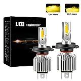 Chemini Ampoule de phare LED de voiture H4, feux de croisement/feux de route, Brancher et utiliser puce COB haute luminosité 3000K jaune 60W