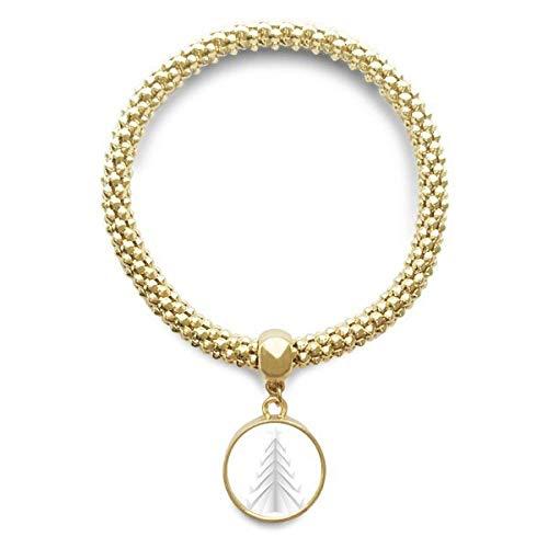 DIYthinker Cadena de joyería Blanco Resumen árbol de Navidad de Origami de Oro Pendiente Redondo de Pulsera
