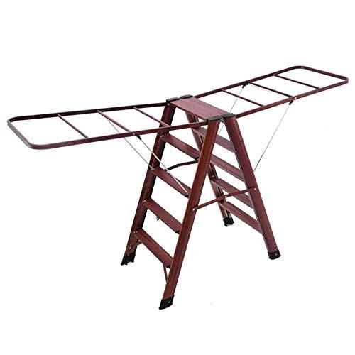 XYFL Stap Ladders 4 stap, 2 In 1 Kleding Drogen Rack Ladder Huishoudelijke LadderAluminium Vouwen Dikke Balkon Woonkamer B