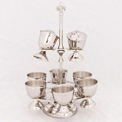 Casa Padrino Eierbecher Set mit Salz und Pfeffer Streuer Messing vernickelt Antik Stil